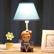 Lovely Healthy Romantic Little Girl Resin Fabric E27 Dimmiable Table Lamp For Children s Bedroom Bedsids