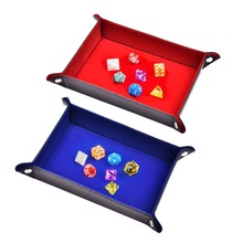 Double Sided Dice Tray PU Leather Folding Rectangle Velvet Holder For RPG DND Chess Other Table Games And Storage