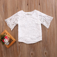 2017 Summer Cute Princess Girls Short Sleeve Lace T shirt Toddler Kids Baby Girl White Shirt