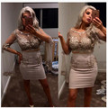 Two Piece Light Champagne Sheath Column Cocktail Dress With 3/4 Length Sleeve Beaded Lace Applique Party Dress