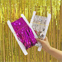 2M Gold Pink Rainbow Sequin backdrop Foil Fringe Tinsel Curtain Birthday Party Rain for decoration Girl Adults Anniversary Sale(China)