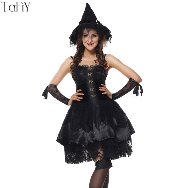 0402912dbab TaFiY Sexy Adult Witch Costume Halloween Witch Dresses For Women ...