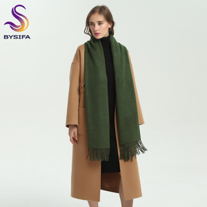 Image 2 - [BYSIFA] New Winter Ladies Army Green Pashmina Scarves Shawls Fashion Trendy Tassel Women Luxury Cashmere Pashmina Scarves Wraps