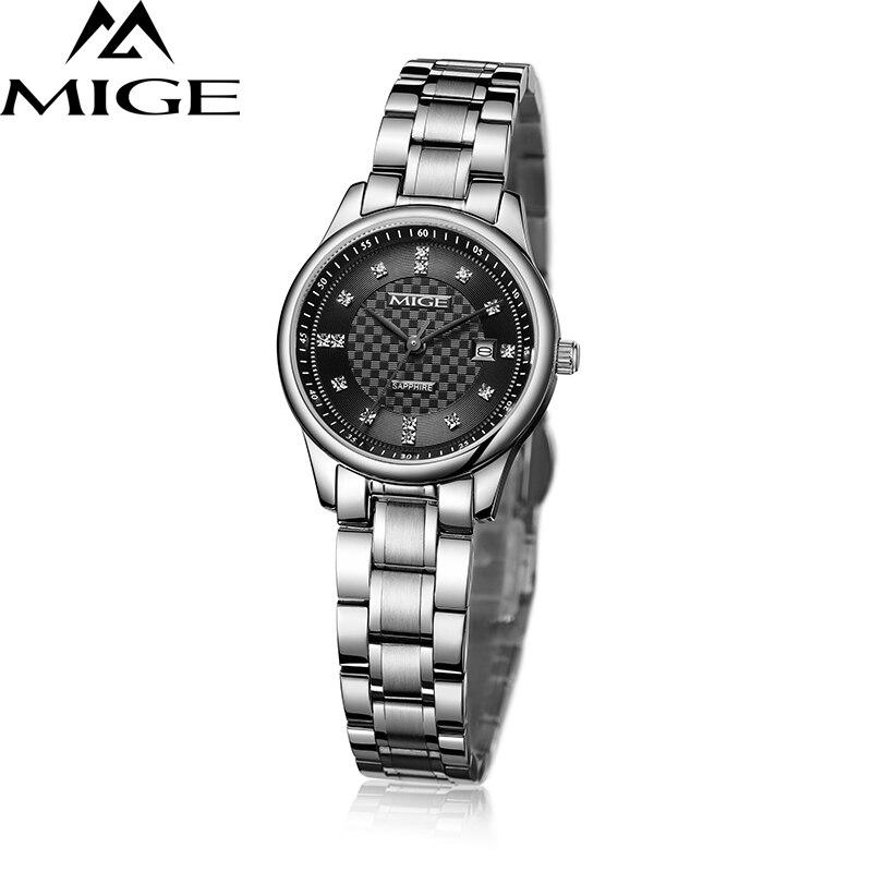 Mige 2017 топ продаж Брендовые женские часы черный белый золотой Стальной ремешок для отдыха Saphire Циферблат Водонепроницаемые кварцевые женские наручные часы
