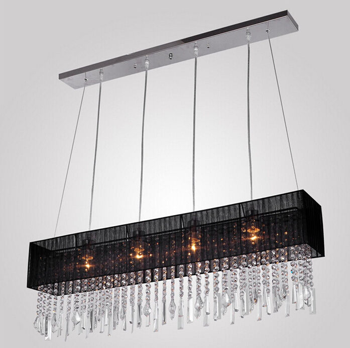 Aliexpress Fashion Design Modern K9 Crystal Chandelier With 4 Lights Black Rectangle From Reliable