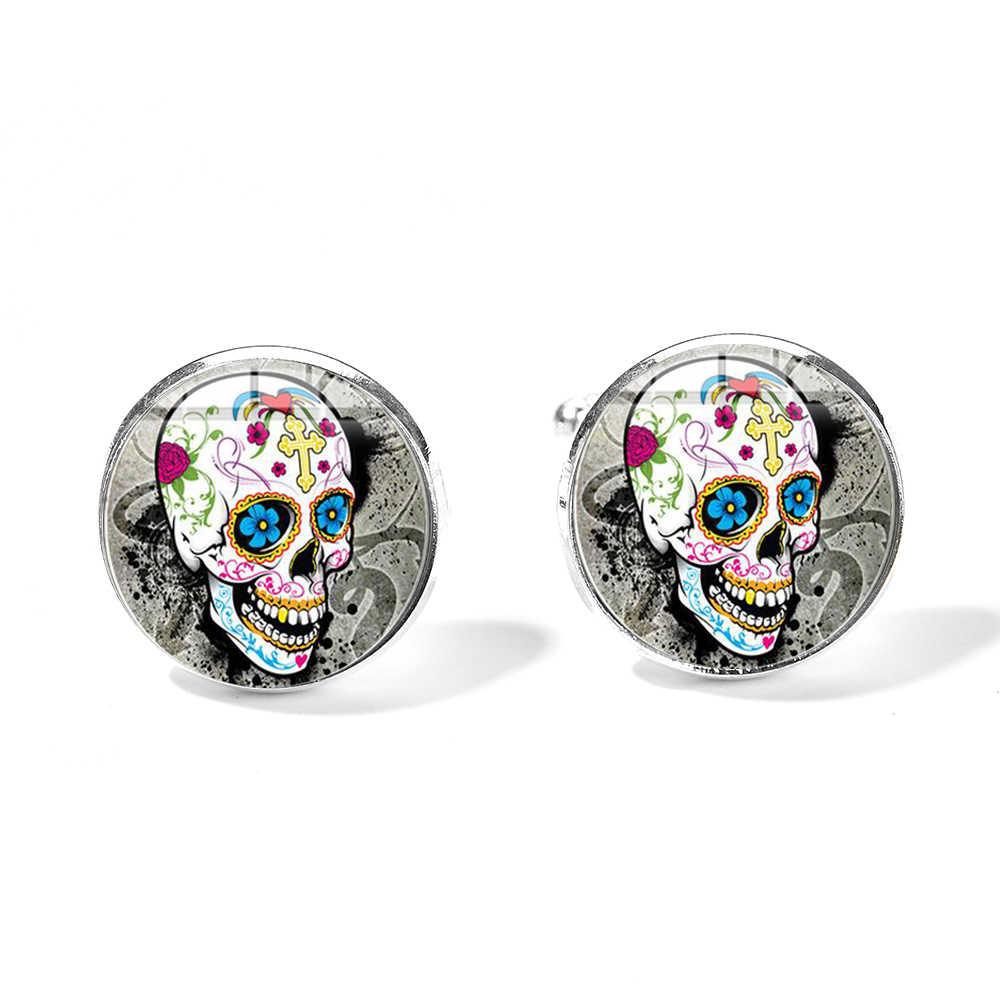 SIAN мексиканский сахар запонки с черепом гипербола стиль скелет дизайн стекло, кабошон, серебро покрытием запонки День мертвых подарок
