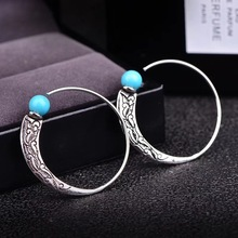Antique Silver Hoop Earrings with Blue Stone Retro Jewelry Big Hoop Earings for Women Wedding Party Accessories Gifts Brincos недорого