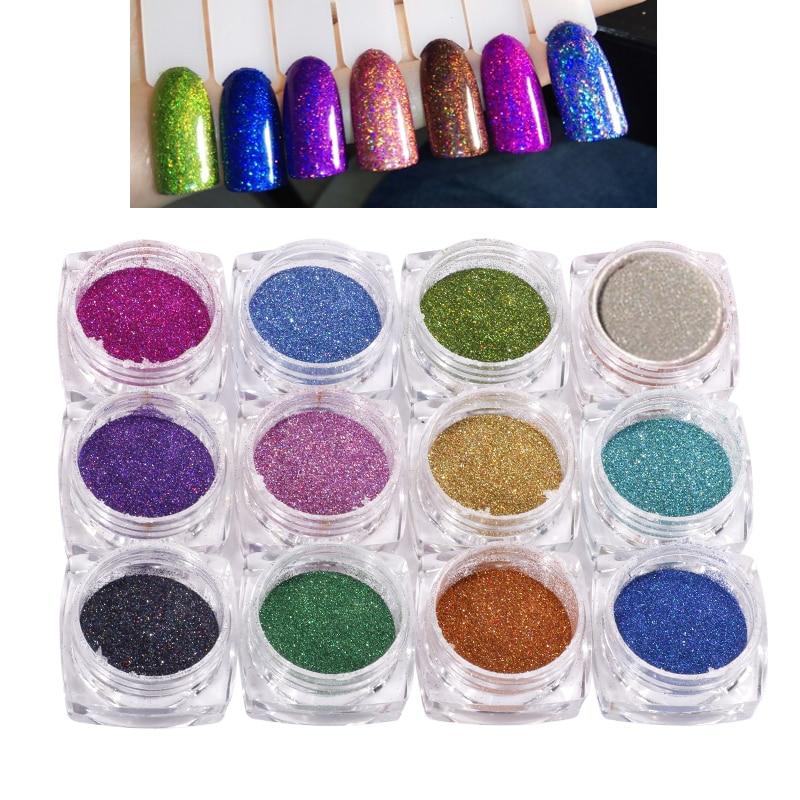 12 Colors/set 1mm Nails Art Chrome DIYDark Color Ultra fine Loose Resin Glitter Nail Pigment Holographic Dust Powder FPB05