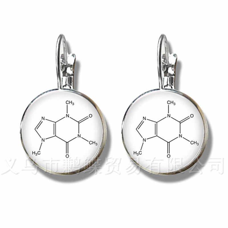 Serotonin สารเคมีสูตรต่างหูชีววิทยาเคมีนักเรียน Silver Plated Stud ต่างหูเครื่องประดับของขวัญสร้างสรรค์