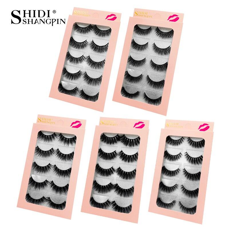 SHIDISHANGPIN Mink Lashes 3D Mink Eyelashes False Eyelashes 5 Pairs Natural Eyelashes Strip Eyelash 3d False Lashes Makeup Kit