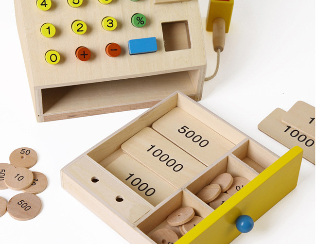 Nova lesena igračka Simulacijska blagajna Otroška igrača - Igra igranja vlog - Fotografija 2