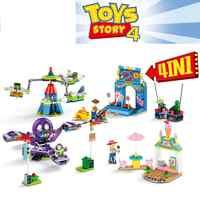 4 pçs brinquedo história 4 parque de diversões bloco conjunto woody buzz lightyear construção tijolo brinquedo para crianças