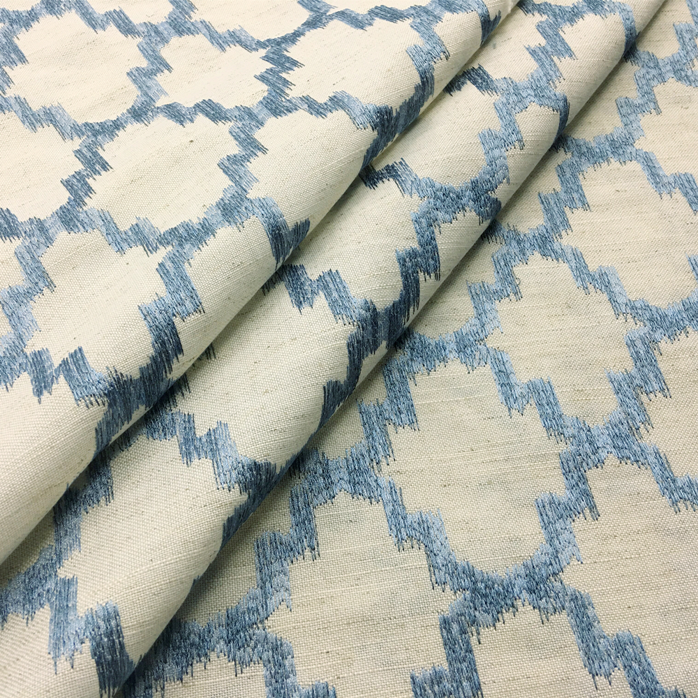 Contemporary All Over Embroidery Linen Geometric Sofa Fabric Upholstery  Drapery Curtain Designer Cloth 145cm Width Sell By Meter