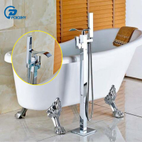 POIQIHY Chrome Brass Floor Mount Bathroom Waterfall Tub Faucet Tub Filler Bath Mixer Tap Handheld Shower