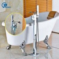 Poiqihy Chrome латунь пол гору Ванная комната Водопад ванной кран ванна Наполнитель Для ванной смесителя ручной душ