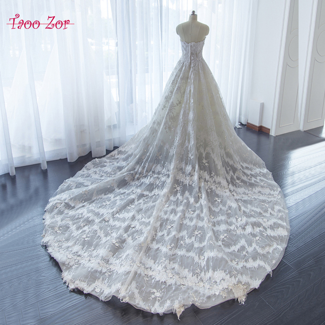 TaooZor Modest Lace Wedding Dresss Strapless 2018 Beading Flowers ...