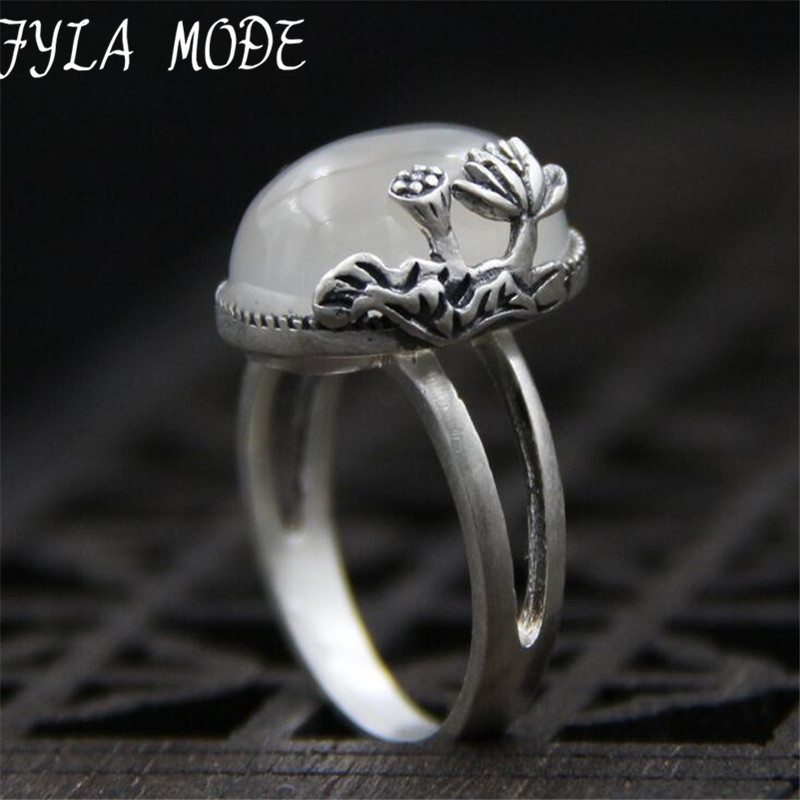 Fyla Mode Fashion Jewelry S999 Silver White Jade Ring With Lotus Flower Carved Adjustable Unisex Gift Ring For Women 16*14mm