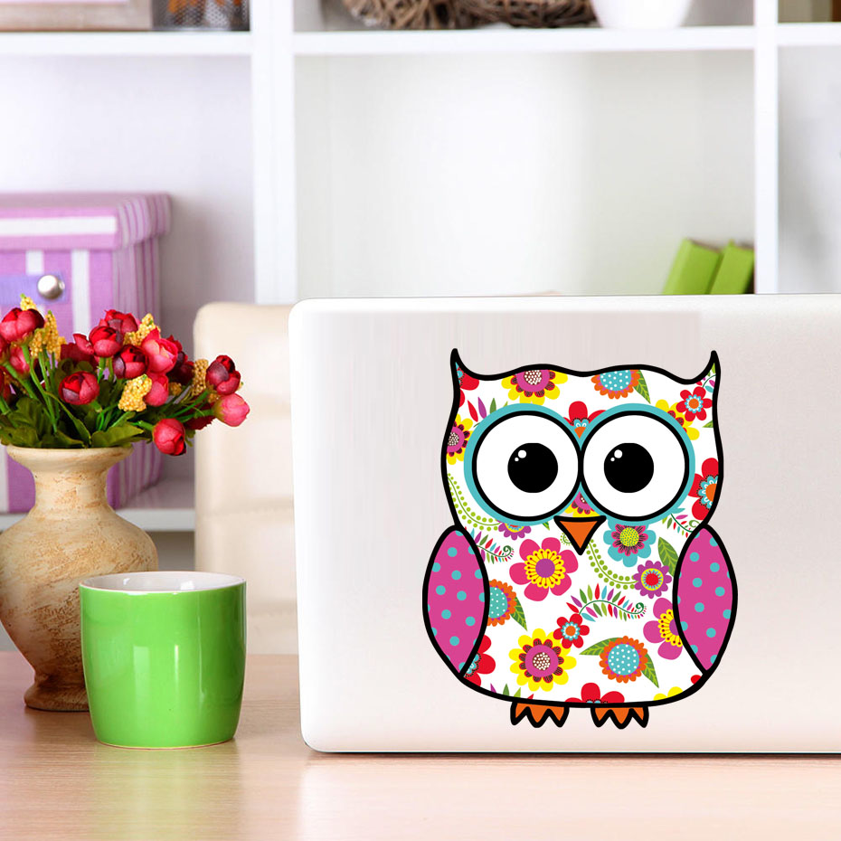 Colorful Owl Flowers Wall Sticker Car Bumper Sticker Cute Owl Bumper Sticker Laptop Decal Waterproof Wallpaper Poster Home Decor