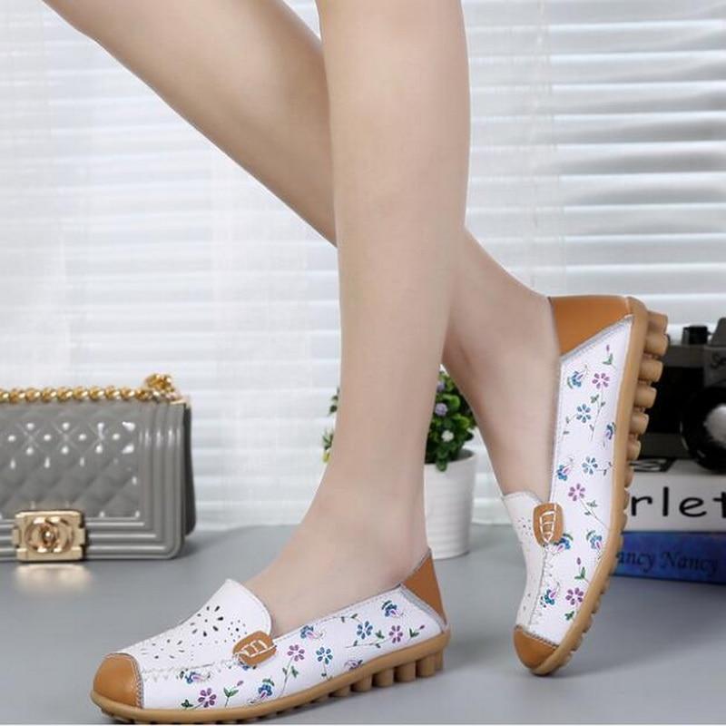 Mujer Enfermera Flexible Zapatos Verano Azul Peas naranja Ballet Flor Plana Cuero amarillo Ahuecado Genuino rosy Loafer Red De blanco Flats Imprimir wIqxv