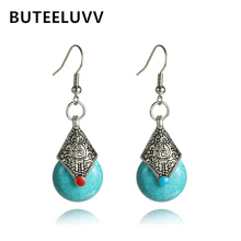 Ethnic Blue Stone Drop Earrings for Women Vintage Antique Silver Color Carved Geometric Dangle Earrings Indian Jewelry