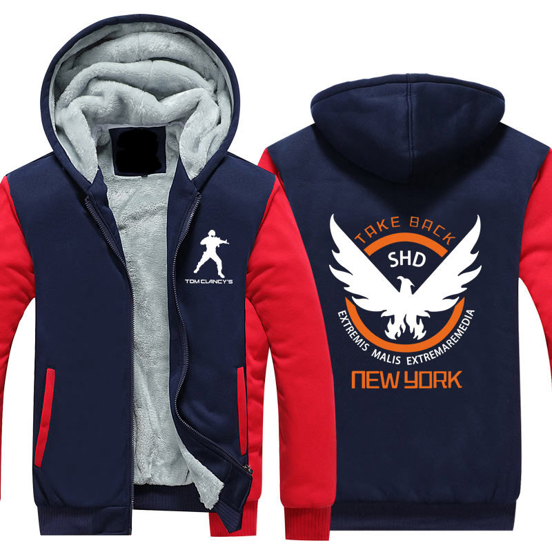 New Tom Clancy's The Division Hoodie Logo Winter JiaRong Fleece Mens Sweatshirts Free Shipping USA Siz