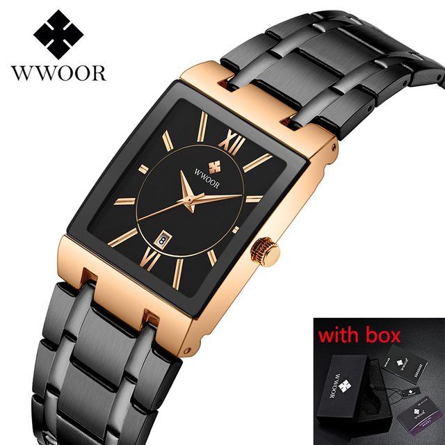 2019 luksusowe zegarek męski kwarcowy analogowy zegarek na rękę WWOOR 8858 człowiek prostokątne ze stali nierdzewnej biznes zegarek Relogio Masculino # c