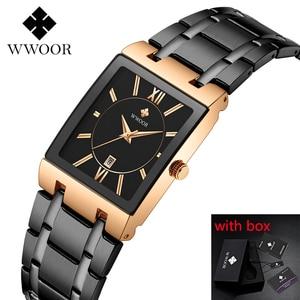 Image 1 - 2020 Luxury Mens Watch Quartz Analog Wristwatch WWOOR 8858 Man Stainless Steel Rectangular Business Watch Relogio Masculino #a