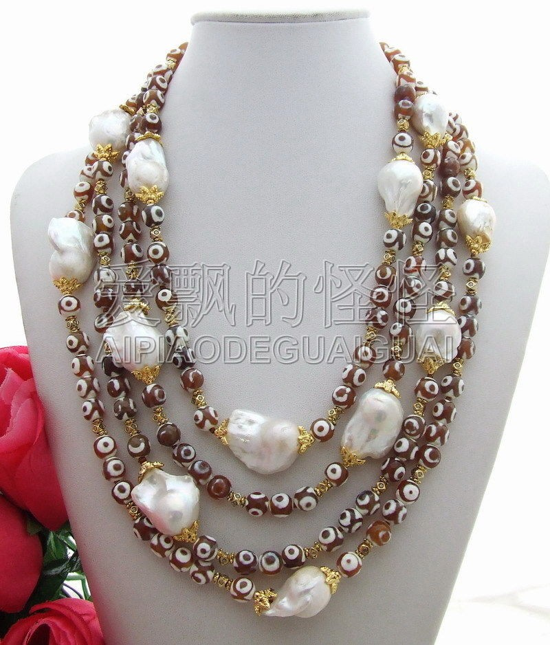 N130508 Stunning! Bead-Nucleated Pearl NecklaceN130508 Stunning! Bead-Nucleated Pearl Necklace