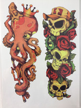 ARRIVAL 21 X 15 CM Octopus And Skull Cute Temporary Tattoo Stickers Temporary Body Art Waterproof#87