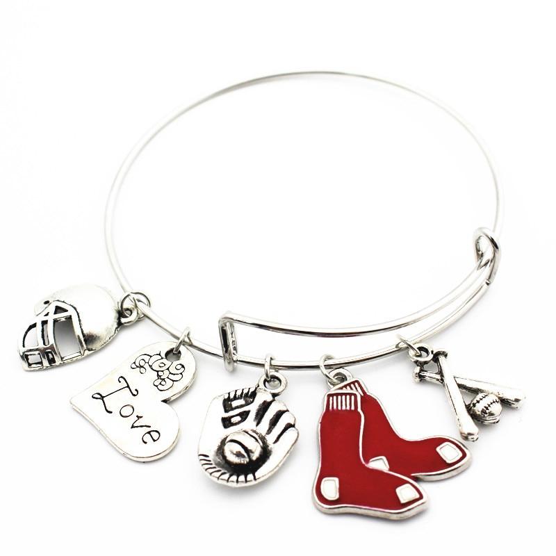 New Arrival 6pcs/lot Boston Red Sox baseball Alloy Charm I love Baseball Replaceable Elastic Bangles&Bracelet Jewelry