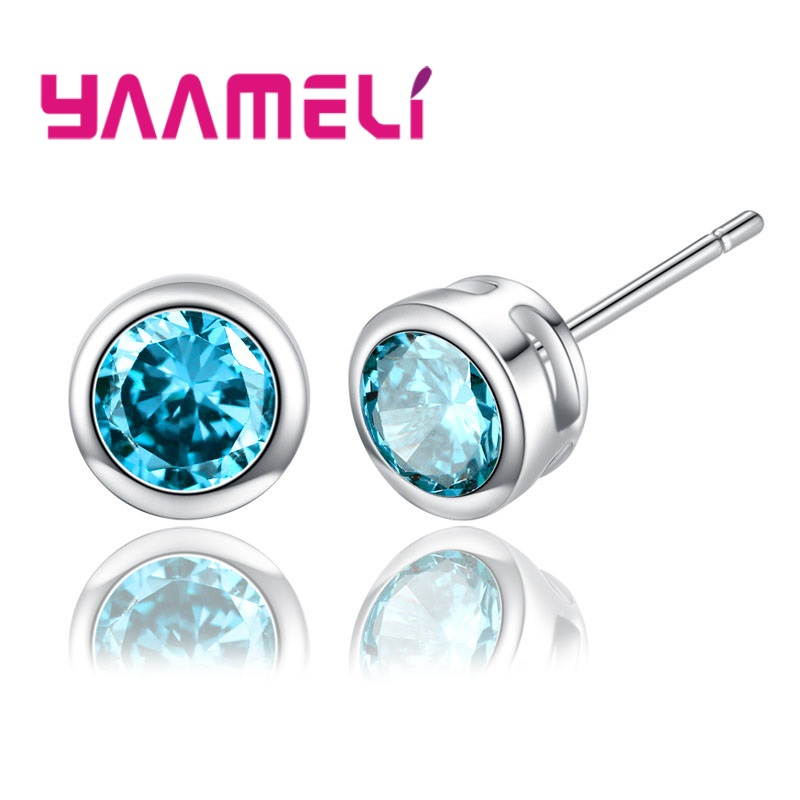 Big Sale 925 Sterling Silver 6MM Stud Earrings For Women Cubic Zirconia Jewelry Gifts For  Baby/Girls/Students 4