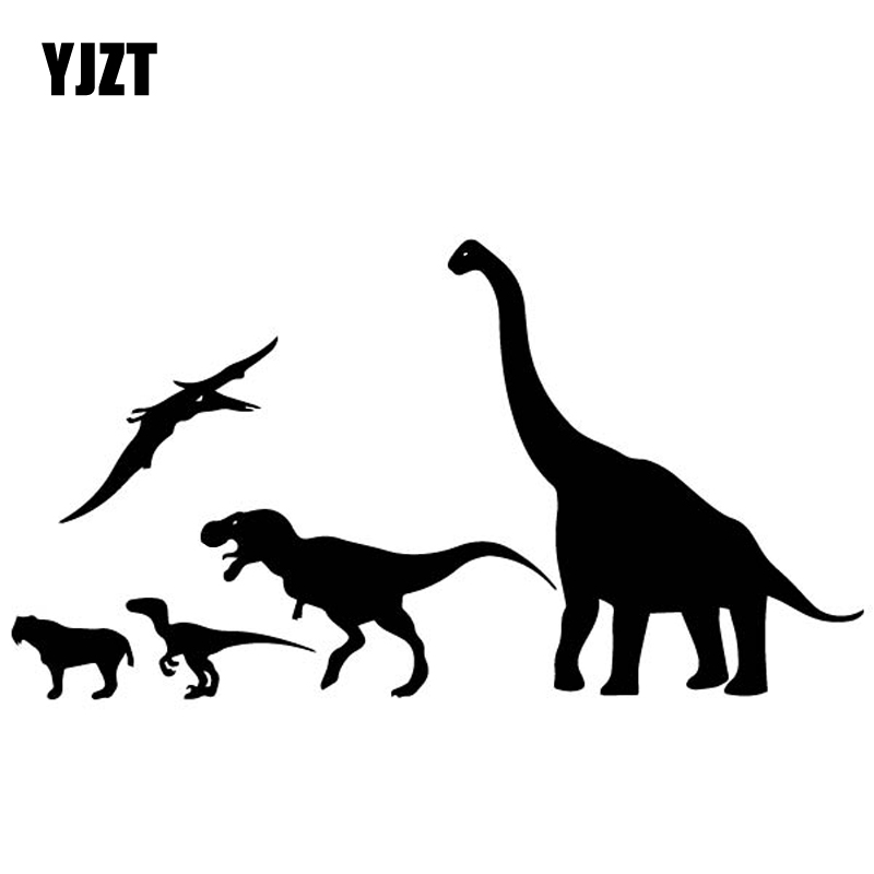 YJZT 18.2CM*9.9CM Clusters Of Dinosaurs Car Sticker Decoration Car Door Vinyl Decal Black/Silver C4-2150