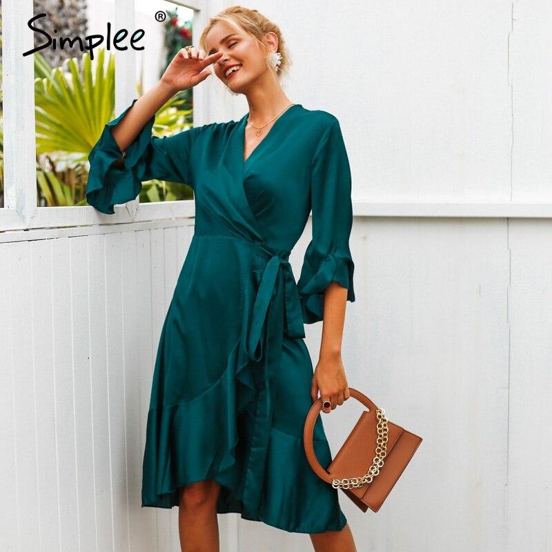 Осеннее и зимнее женское платье Simplee, элегантное атласное женское платье с запахом, оборками и широким рукавом 2019, розовое женское платье