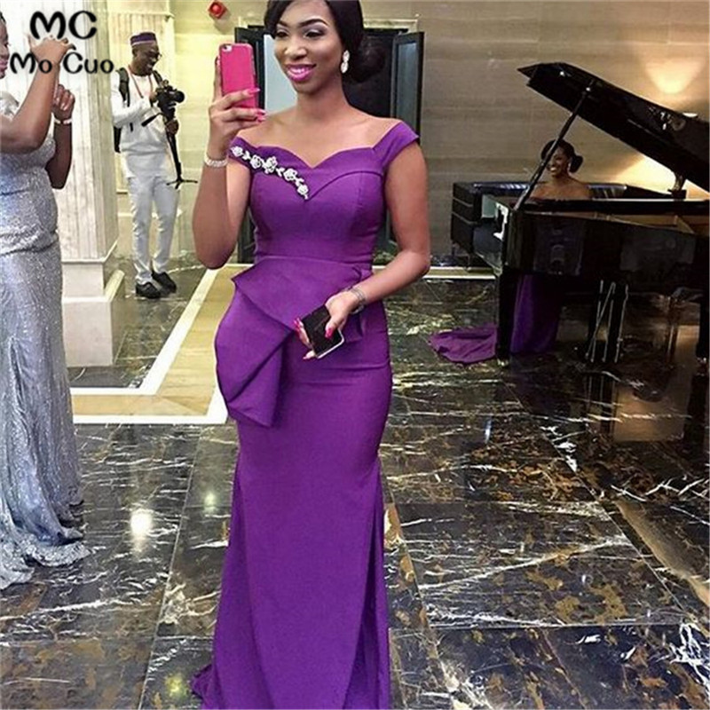 2019 Arabic African Mermaid Evening Dresses Long With Beaded Ruffles Elastic Satin Prom Gown  Evening Dress Custom Made
