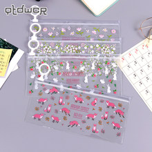 Kawaii Small Flowers Animals Pencil Case Cute Transparent PVC Pencil Bag For Girls Kids Children School Supplie Stationery(China)