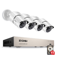 ZOSI 1080P Video Surveillance System 4CH CCTV Security Kit with 4X 2.0MP HD Outdoor Home Security Camera Super Night Vision
