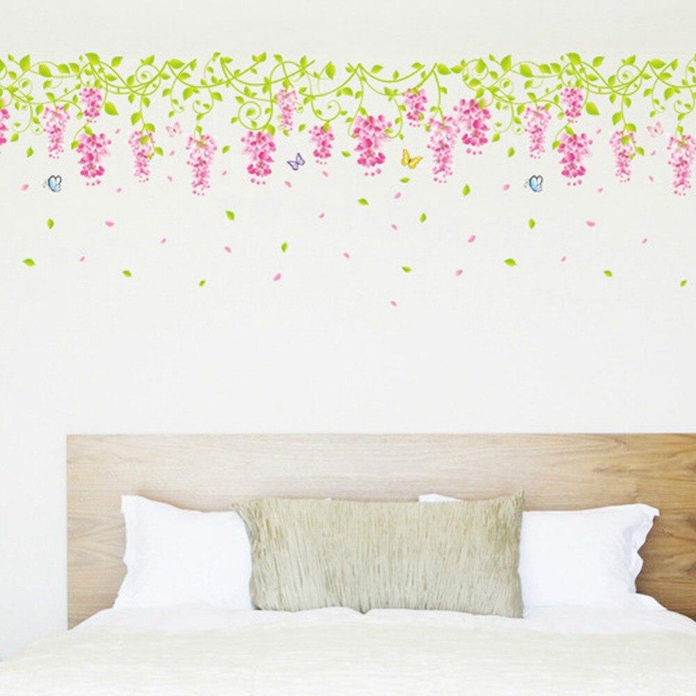 5070 Cm Ukuran Hangat Romantis Diy Removable Wallpaper Kecil Ungu Sticker Dinding Garis Bunga Stiker Skirting 0251 Dekorasi Rumah Di Wall Stickers Dari