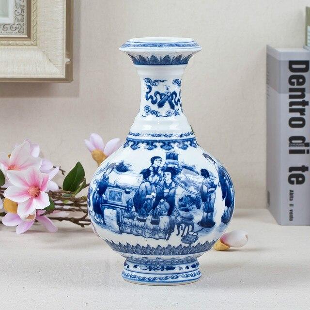 Blue And White Ceramic Vase Antique Design Porcelain Flower Handmade Home Decoration Vases
