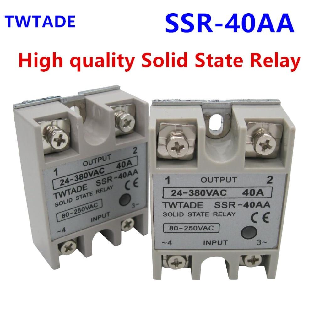 Halbleiterrelais DC-AC 10A 25A 40A 60A 80A 100A 12V 3-32V DC BIS 220V 24-380V AC Last Einphasen-SSR zur Temperaturregelung Wei/ß