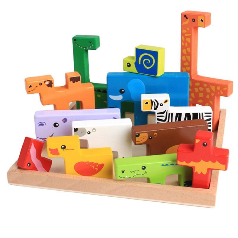 купить Animals Building Blocks Jigsaw Montessori Creative Cartoon Card Board 3D Block Kids Educational Colorful Toy Free Shipping по цене 856.09 рублей