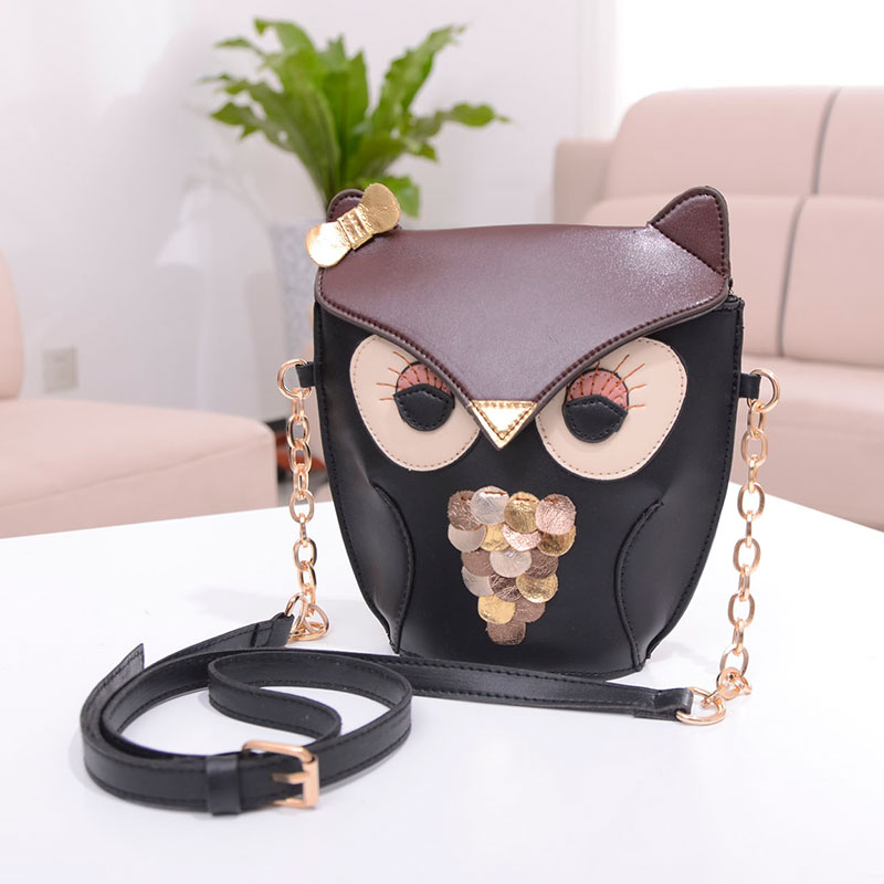 Fashionable Cute Night Owl Print Bag for Women Quality PU Leather Satchel Shoulder Messenger Bag Hot sale Female Crossbody Bag fashionable retro pu leather one shoulder messenger bag for women brown 120cm strap