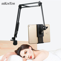 Flexible Strong Arm Tablet PC Stand Support 4 to 10.6 inch Tablets Screen 360 Rotating Bed Desktop Tablet Holder For iPhone iPad