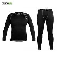 WOSAWE Men Thermal Fleece Base Layer Compression Underwear Bicycle Bike Long Sleeve Winter Cycling