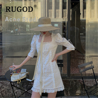 RUGOD Korean chic puff sleeve white women dress Vintage hollow out mini summer dress lady Fashion square collar lace up dresses