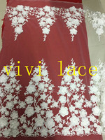 5yards MMC001 best quality ivory offwhite applique 3d pearls luxury tulle mesh lace fabric for wedding dress