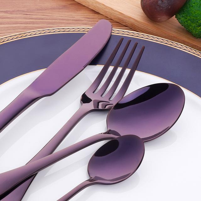 Hot 4Pcs/set 18/8 Stainless Steel Black Cutlery Set Rainbow Dinnerware Tableware Gold Silverware Sets Dinner Knife and Fork Set