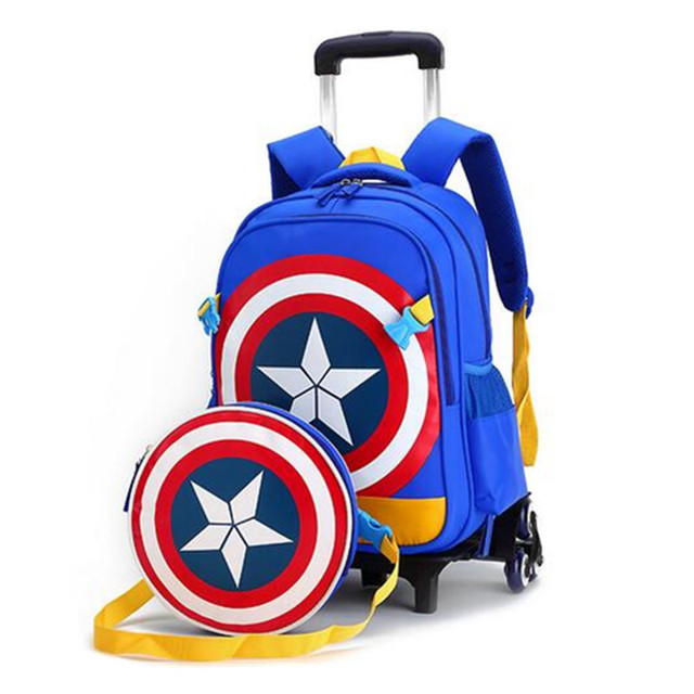 9690198639 Captain America Kids Trolley School Bags for Girls Boys Cartoon 3D School Backpacks  Children Rolling Luggage