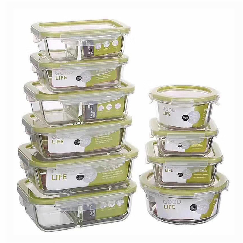 Glass Lunch Box Microwave Oven Heating Refrigerated Sealed Leakproof Food Container Transparent Borosilicate Food Bento Box