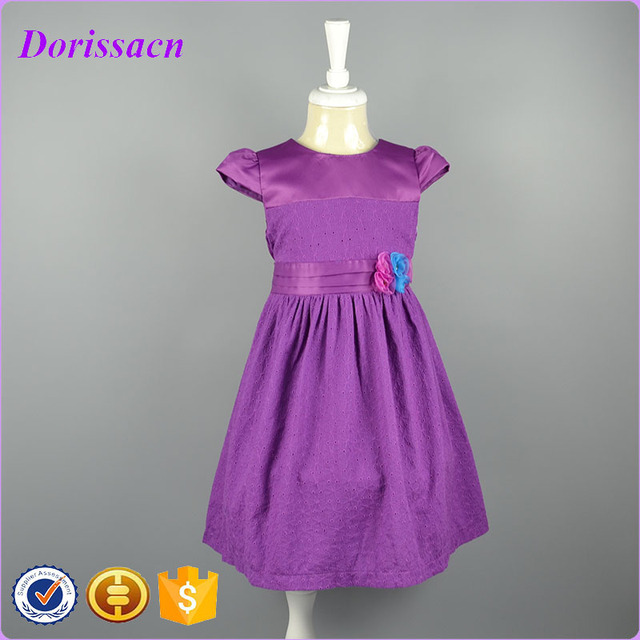 Purple Summer Casual Cotton Girl Dress 4 8 Years Floral Pattern