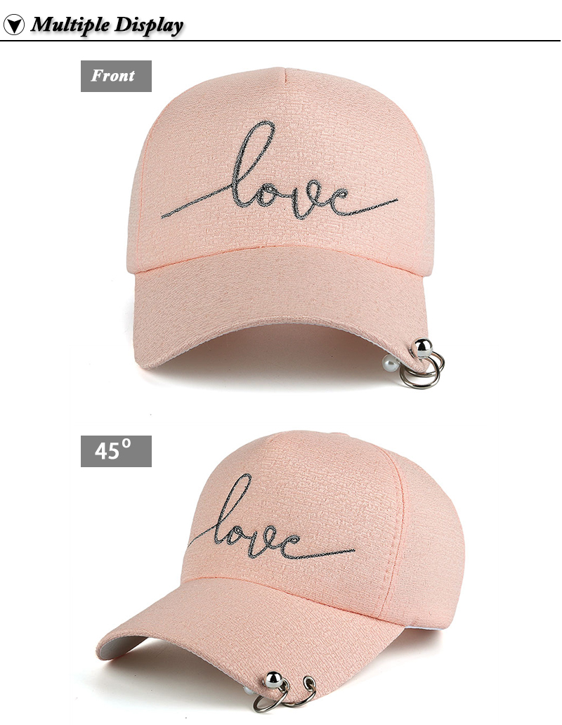 """Embroidered """"Love"""" Snapback Cap with Rings - Peach Cap Front and Side Angle Views"""